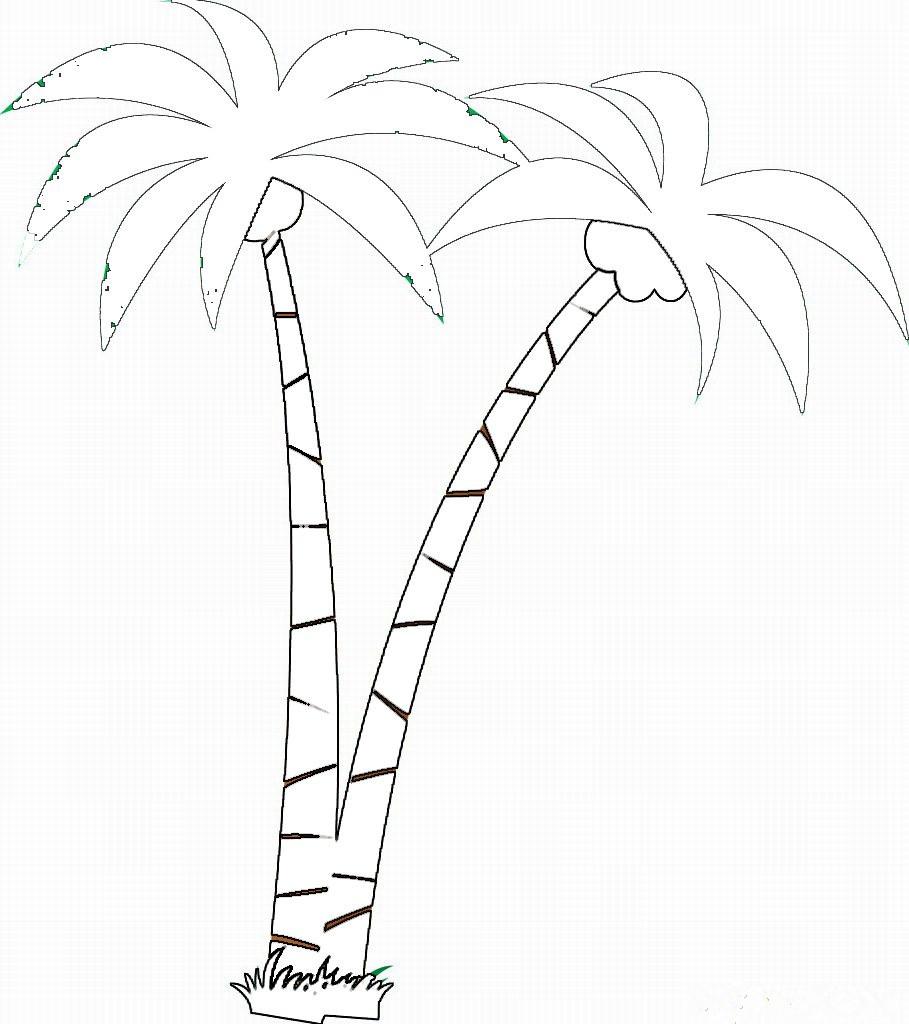 海滩椰子树图片简笔画